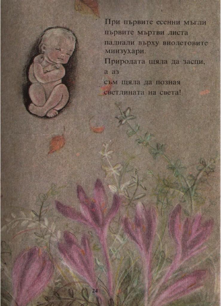 При първите есенни мъгли първите мъртви листа паднали върху виолетовите минзухари. Природата щяла да заспи, а аз съм щяла да позная светлината на света!